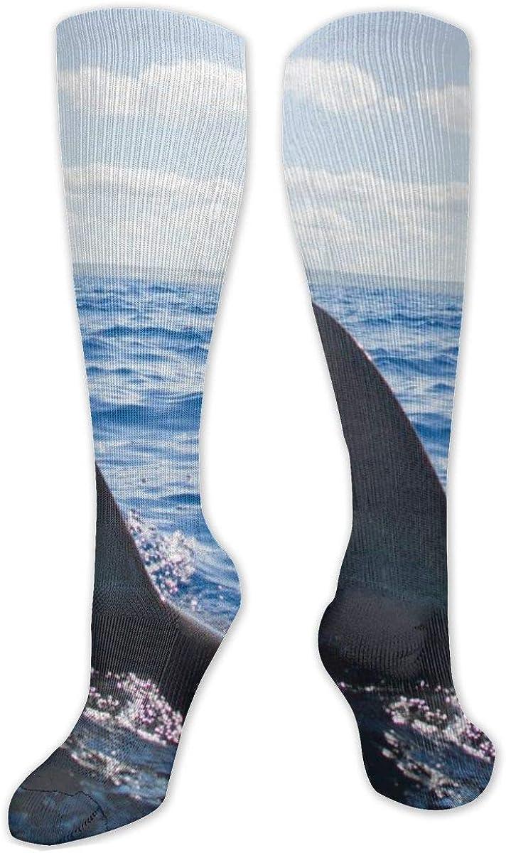 Shark Fining Pattern Knee High Socks Leg Warmer Dresses Long Boot Stockings For Womens Cosplay Daily Wear
