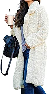 Macondoo Womens Sherpa Jacket Warm Coat Lapel Open Front Overcoat
