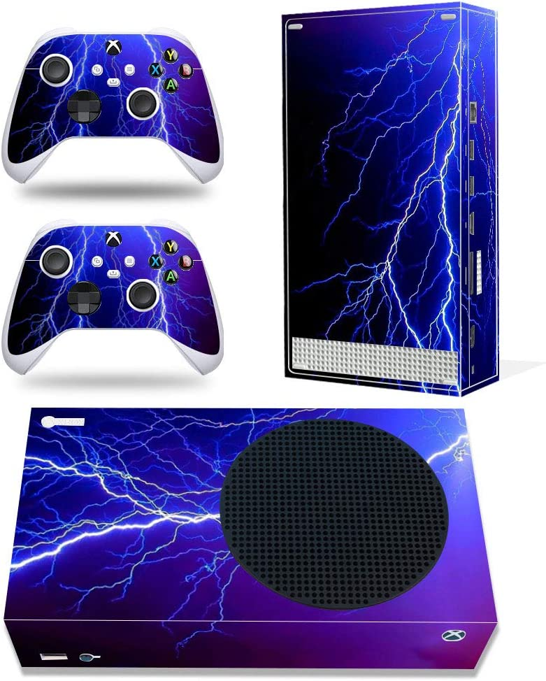 DOMILINA Xbox Series S Skin Stickers, Full Body Vinyl Decal Cover for Microsoft Xbox Series S Console & Controllers - Lightning