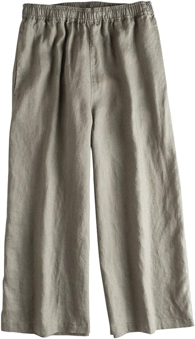 utcoco Women Casual Loose Fit Elastic Waist Wide-Leg 100% Linen Capri Pants Trousers