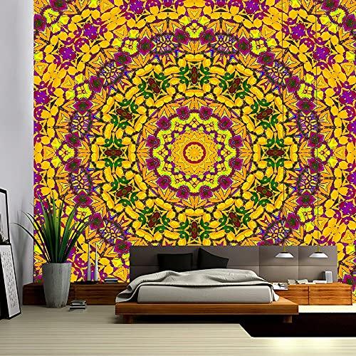 Tapiz de mandala indio tapiz de tela de pared decorativa bohemia tapiz psicodélico Hippie noche luna tapiz decoración del hogar A12 150x200cm