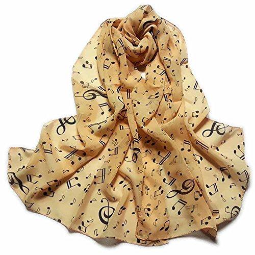 mugesh Chiffon - Schal Notenmix braun - Schönes Geschenk für Musikerinnen