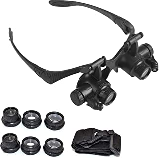 YASE-king Headband Magnifying Glasses 10X 15X 20X 25X Eye Jewelry Watch Repair Magnifier Glasses with 2 LED Lights Loupe M...