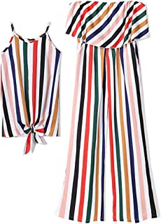 PopReal Mommy and Me Stripe Jumpsuit Off Shoulder Strap Self Tie Matching Outfit