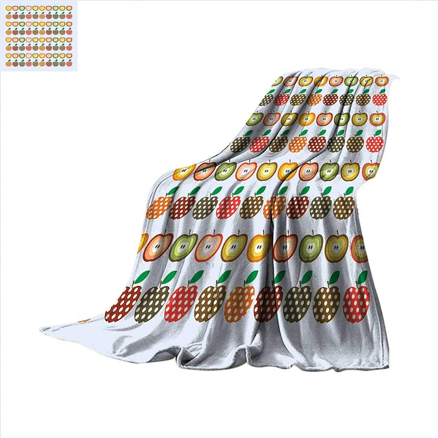 Smallbeefly Apple Super Soft Lightweight Blanket Retro Style Pattern Apples with Polka Dot Pattern colorful Cheerful Happy Healthy Oversized Travel Throw Cover Blanket 60 x50  Multicolor