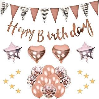 飾り付け誕生日 風船誕生日 バースデーバルーン ガーランド風船 飾り付けセット happy birthday バルーン 星飾り 紙吹雪 (ローズゴールド)