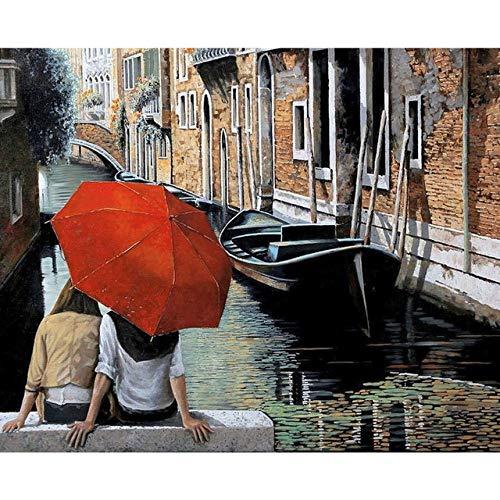 LiMengQi2 Paar regentag romantische leinwand wandbild Kunst Wohnzimmer Dekoration malerei (Kein Rahmen)