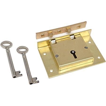 Half Mortise Chest Lock Extra Large Half Mortise Box Lock Premium Quality Heavy Duty Brass Antique Lock Cast Brass Strike Plate with 2 Keys Box Chest Trunk Lock