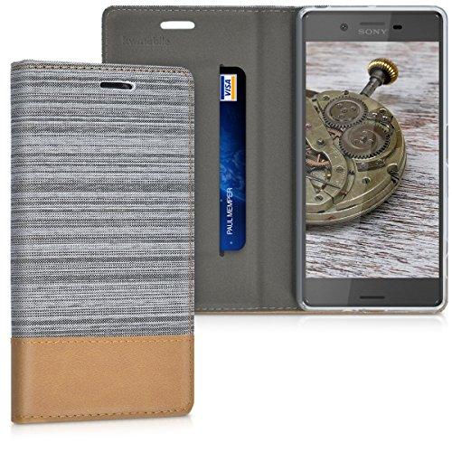 kwmobile Funda Compatible con Sony Xperia X-Carcasa de Tela y Cuero sintético con Soporte en Gris Claro/marrón