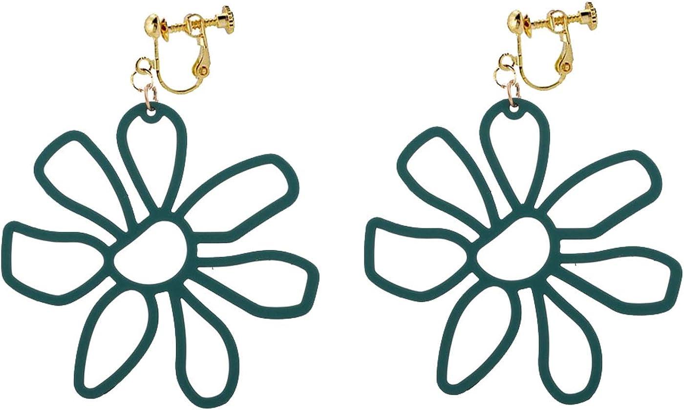 Clip on Earrings for Women Girls Flower Earrings Hollow Daisy Dangle Drop Non Pierced Simple Multicolor