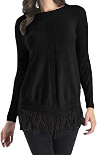 Womens Round Neck Warm Long Sleeve Pullover Knitted Loose Tassel Hem Jumper Sweaters