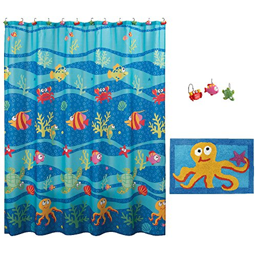 Allure Home Creation Shower Curtain Set,Fish Tails Shower Curtain with 12 Hooks and Rug Mat,Set for Kids,70x72 Inches Colorful Fabric.