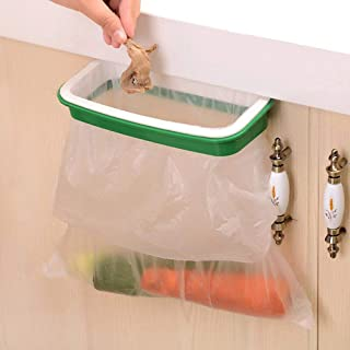 Lunies Hanging Trash Garbage Bag Holder for Kitchen Cupboard,RV,Green and White, 22 15.5 cm,