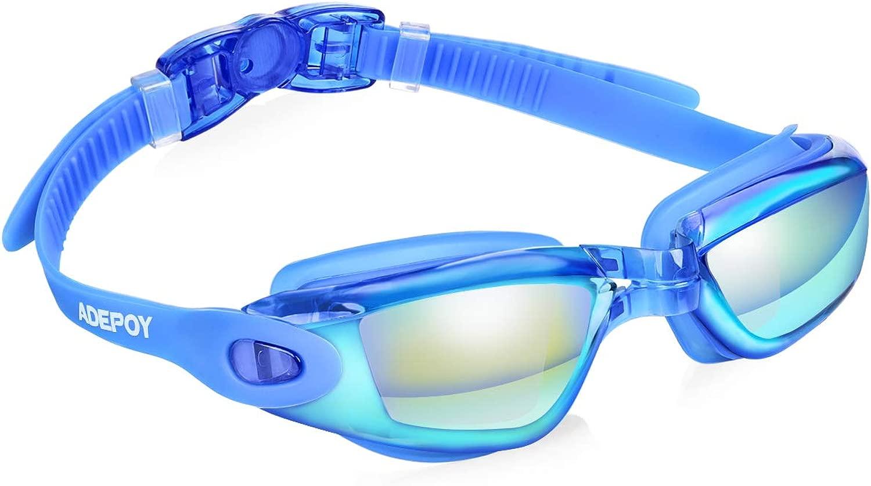 adepoy スイミングゴーグル 水漏れなし 曇り止め UV保護 スイミングゴーグル メンズ レディース 大人 ユース キッズ (6歳以上) 保護ケース付き