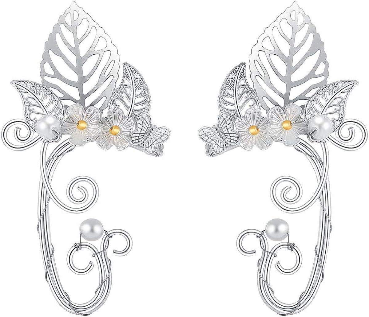 SXNK7 Chic Elf Sacramento Mall Pearl Hollowed Flower Cheap bargain Cosplay Wrap Leaf Fairy Ear