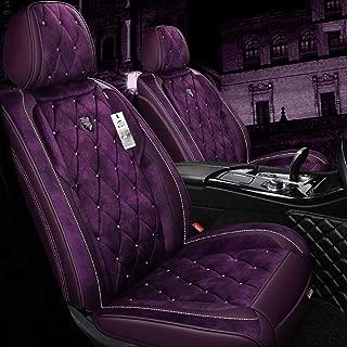 Full Set of Warm Car Seat Cover, Autumn And Winter Warm Universal Short Plush Seat Cover for Toyota, Audi, Kia, Suv,Purple