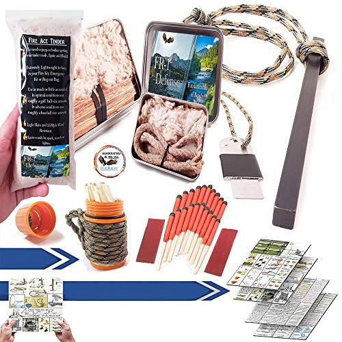 Fire Starter Kit Match Case with Ferro Rod, Fatwood, Fire Ace Tinder, Tinder Torch Wick, and Survival Guide Bonus!! Great Fire Kit for:Camping Gear, Camping Accessories, (Orange Fire Kit Match Case)
