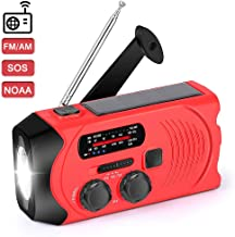 NOAA Weather Radio for Emergency Solar Hand Crank Self Powered Portable Radio, AM/FM Radio with LED Flashlight,SOS Alarm,2000mAh Power Bank Cell Phone Charger (Red)
