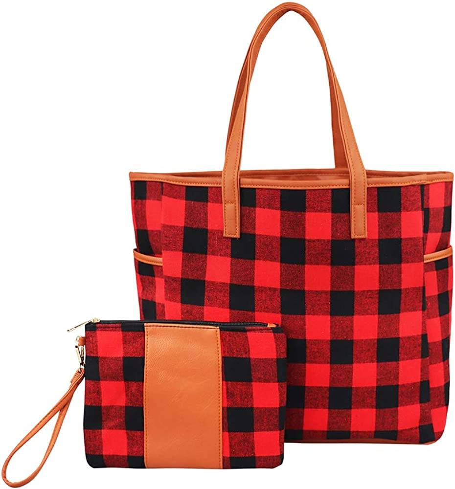 THOVSMOON New popularity 2Pc Plaid Personalized Tote and Set Handbags Limited price sale Wristlet