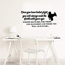 Wall Vinyl Decal Home Decor - Art Sticker Lettering Letters Quote Once You Have Tasted Flight Airplane - Home Room Removable Mural HDS11824