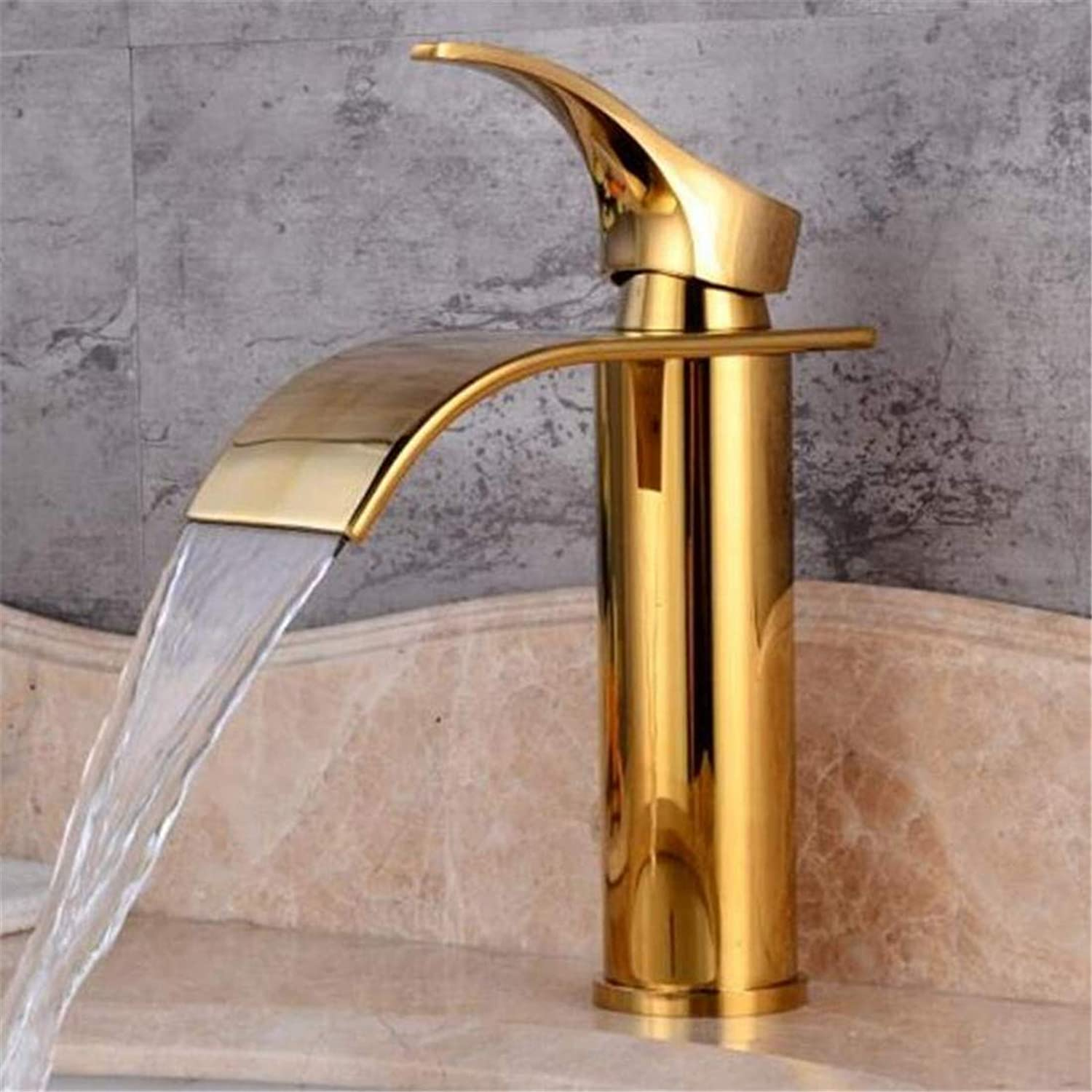 Faucet Luxury Plated Kitchen Bathroom Faucet Faucet Mixer Bathroom Sink Faucet Waterfall Brass Basin Water Mixer Crane Hot and Cold Faucet Deck Mounted