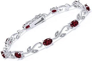 Gem Stone King 925 Sterling Silver Red Rhodolite Garnet and Diamond Greek Vine Women Tennis Bracelet 4.63 Ct Oval 7 Inch