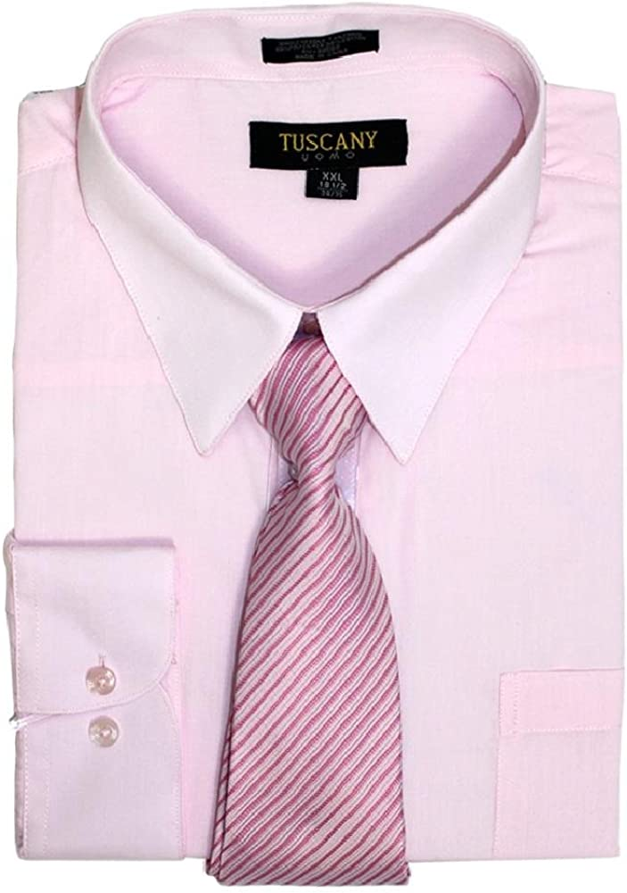 Tuscany Men's Regular-Fit Solid Long Sleeve Olive Dress Shirt with Mystery Tie Set (Light Pink) 15.5 15.5 34/35