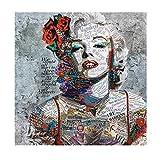 JRLDMD Marilyn Monroe, periódico, Lienzo, Pintura, Arte Callejero, Impresiones artísticas y Cuadros Modernos para decoración de Sala de Estar, Cuadros 60x60cmx1 sin Marco