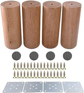 テーブル脚家具脚木製家具脚パッド、木製の色無垢材素材ソファ椅子ベッド食器棚ティーテーブルテレビキャビネットReplacemen脚、取り付けプレートネジ付き、4個、12 cm