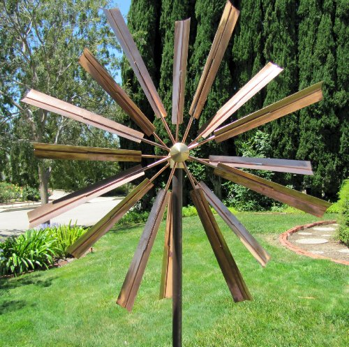 Stanwood Wind Sculpture: Kinetic Copper Dual Spinner - Double Windmill Spinner