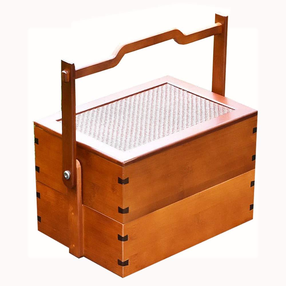 Pn&cc El Almuerzo Bento Box, Cajas de Madera Caja de Almuerzo de Bento 2 Capa Naturales de Frutas de contenedores de Alimentos Sandwich Sushi Caja del Kit para Camping Escuela de Viajes: