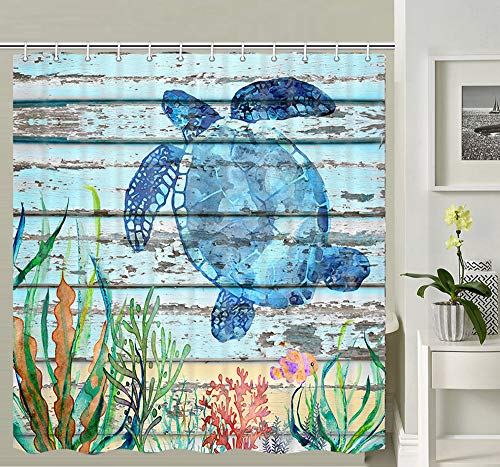 Sea Turtle on Rustic Wood Board Shower Curtain, Sea Turtle Tropical Fish and Sea Weed on Vintage Turquoise Weathered Grunge Wooden Planks Bathroom Curtains, Fabric Shower Curtain 12PCS Hooks, 69X70IN