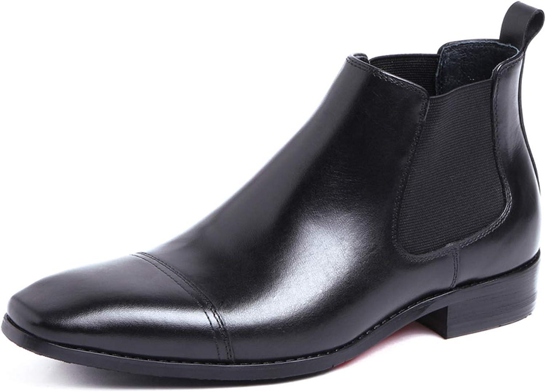 Santimon Men's Chelsea Dress Boots Cap Toe Ankle Classic Leather with Side Zipper