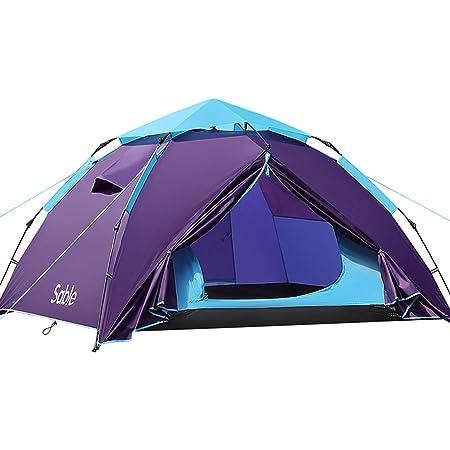 Sable テント 数秒設営 ワンタッチ キャンプテント 3-4人 二重層 防風防水 耐水圧3000mm 通気性 コンパクト 折りたたみ 収納バッグ付き アウトドア キャンプ用品 登山 防災用 SA-HF044 紫色