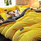 Dicker Korallen-Samt-Bettbezug, vierteilig, doppelseitiger Flanell-Steppbezug, Winter, einfarbig, luxuriös, modisch, Bettwäsche-Set, gebürstete weiche Mikrofaser (A,220 x 240 cm)