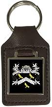 Jarvis Heraldry Surname Coat Of Arms Brown Leather Keyring Engraved