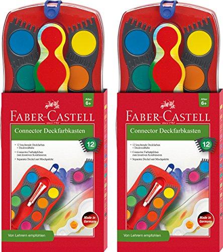 2 Stück Faber-Castell - Farbkasten CONNECTOR mit 12 Farben, inklusive Deckweiß