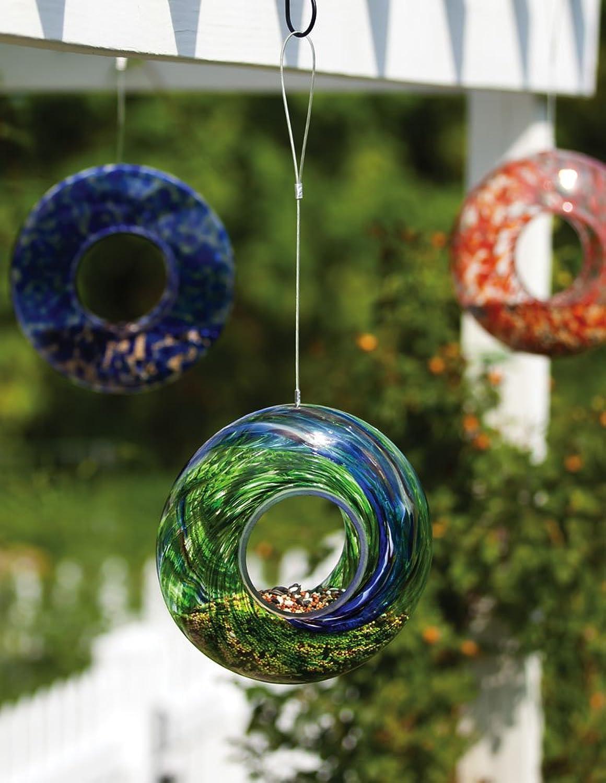 Evergreen Enterprises EG2BF245 Glass Speckle Swirl Circle Feeder, Assorted 3 pcs