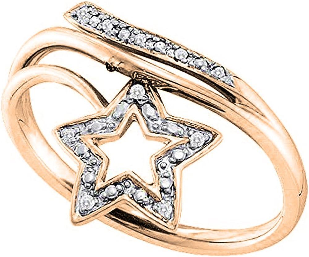 Dazzlingrock Collection 0.03 Carat (ctw) 10K Gold Round White Diamond Ladies Bypass Star Promise Ring