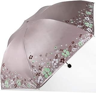 Umbrella Household Folding Umbrellas UV Protection Umbrellas Metal Umbrella Folding Umbrellas Three Colors Available Huhero (Color : Gray)