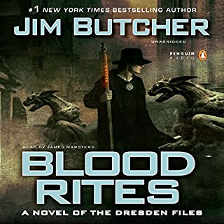 Blood Rites     The Dresden Files, Book 6              Written by:                                                                                                                                 Jim Butcher                               Narrated by:                                                                                                                                 James Marsters                      Length: 13 hrs and 5 mins     96 ratings     Overall 4.9