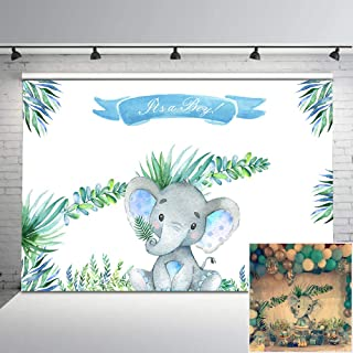 Mehofoto Little Elephant Baby Shower Backdrop It's a Boy Elephant Baby Shower Background 7x5ft Cute Little Elephant Watercolor Leaves Backdrops for Baby Shower Photoshoot Props