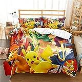 Revna Ropa de cama con diseño de Pokémon Go Pikatchu Anime de 135 x 200 cm + 80 x 80 cm (Pokémon 4,135 x 200 cm)