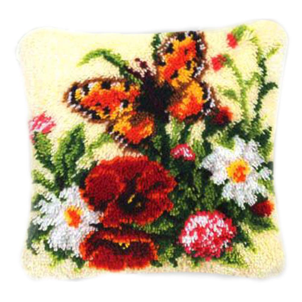 Rose Flower SM SunniMix DIY Latch Hook Rug Patterns Florals Dogs Football Carpet Latch Hooking Kits