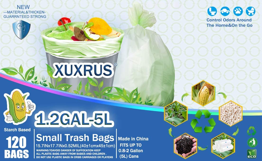 Lawn,Bathroom,120 Count,White Fits 2-1 Gallon Bins XUXRUS Small Trash Bags Biodegradable 5Liter//1.2 Gallon Garbage Bags Compostable Bags Wastebasket Liners for Home Office