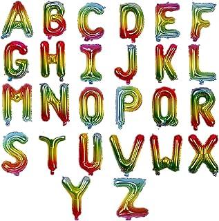 "16"" Rainbow Single Alphabet Letter Balloons Aluminum Hanging Foil Film Balloon Mylar Balloons Air Balloon Cannot Float,Letter E"