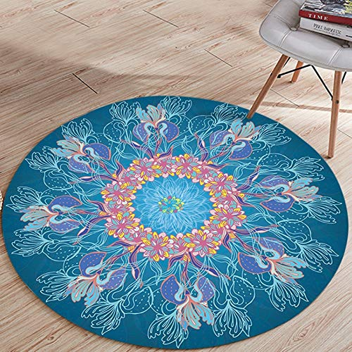 YAOR Ronde Tapijt Perzische Mandala Woonkamer Gebed Moslim Geometrie Ronde Mat Antislip Yoga Mat Slaapkamer