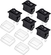 uxcell Mini Boat Rocker Switch With Waterproof Case Black Toggle Switch for Boat Car Marine ON/OFF AC 250V/3A 125V/6A 5pcs