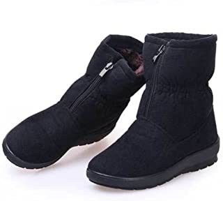 GIY Women Fashion Anti-Slip Fur Lining Snow Boots Mid-Calf Platform Warm Winter Bootie Slipper Shoes