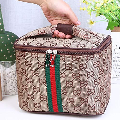 Portable Grand Dessin animé étanche Sac carré Sac cosmétique Maquillage boîte 25 * 26 * 18 CM Grand Portable Double E Peu Profond café